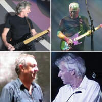 Boven: Roger Waters (links) & David Gilmour (rechts). Onder: Nick Mason (links) & Richard Wright (rechts) / Bron: One schism, EddieBerman, Jethro, Anarkangel / Wikimedia Commons